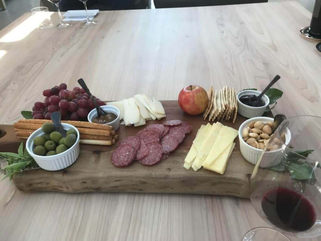 Charcuterie plate for wine tasting
