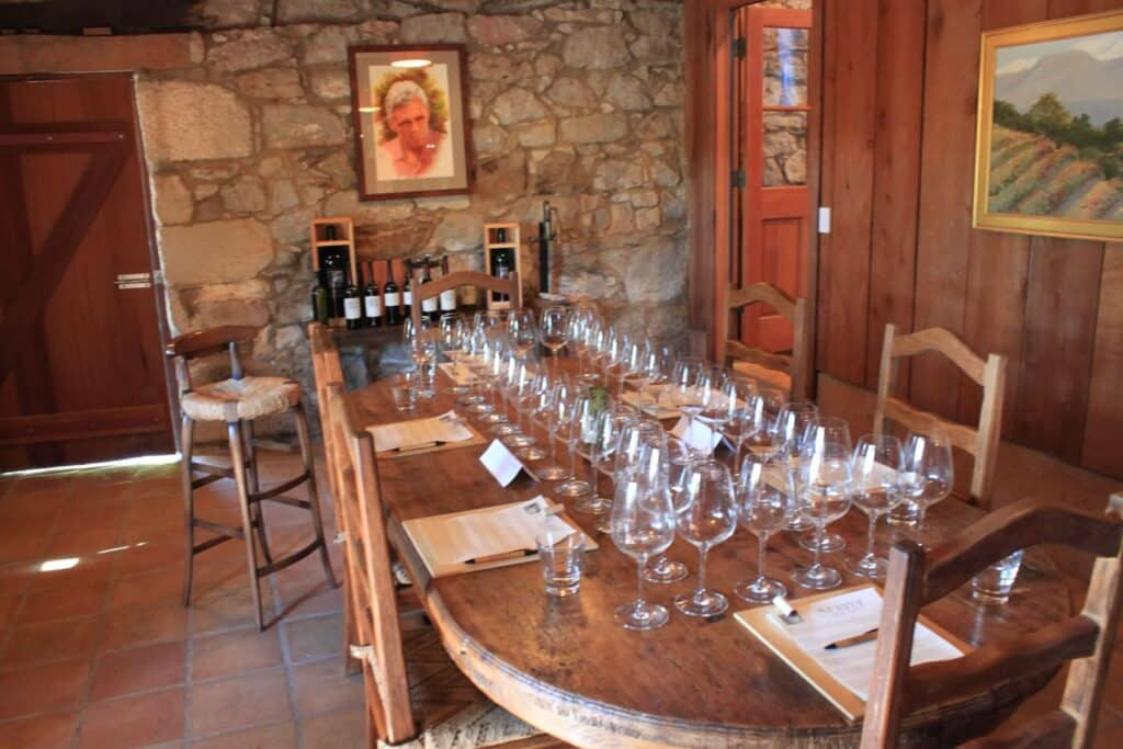 Seavey tasting room ready for the group