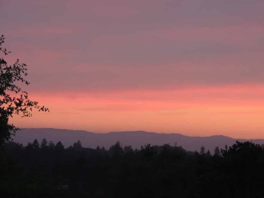 Sunset from rental house in Santa Rosa