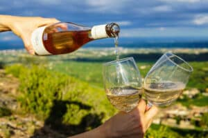 pouring white wine into two glasses in-hand with a view