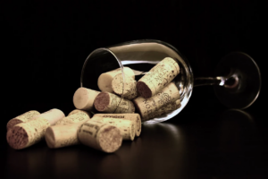 wine corks inside a wine glass