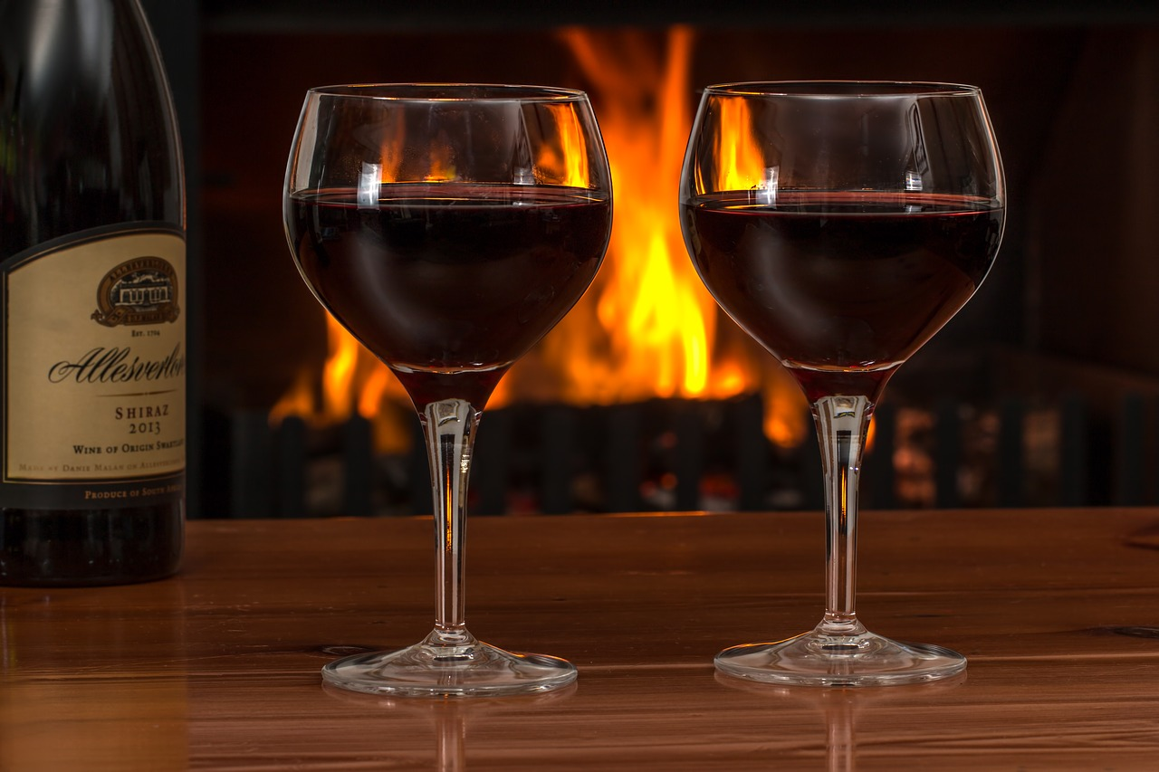wine served near a fire place