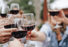 Performing a toast with wine